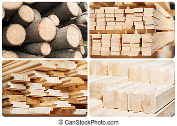 Set of wood lumber materials - Set of Stacked wood pine ...