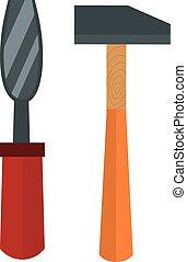 Set of wood processing tools hand equipment cartoon.