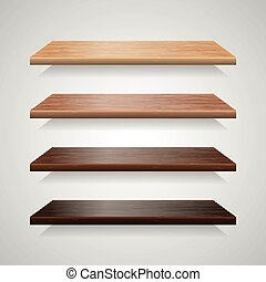 Set of wood shelves with shadows