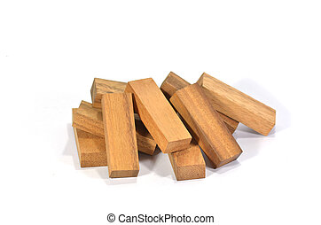 set of wood stick isolated at white