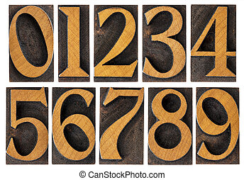 set of wood type numbers isolated