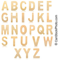 Set of Wooden alphabet letters.