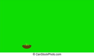 Set of Wooden arrow and board on green background. Place...