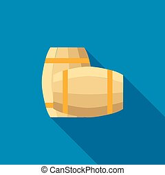 Set of wooden barrels icon, flat style