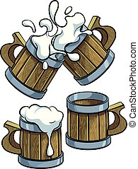 Set of wooden beer mugs - Vector colourful illustration of ...