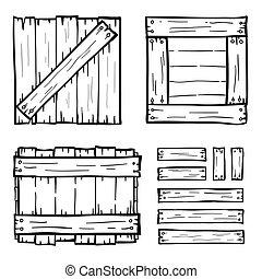 Set of wooden box doodles