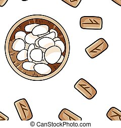 Set of wooden celtic runes and bowl with pebble seamless pattern. Wallpaper of carved runic symbols on wood and sea stones. Vector illustration of celtic glyphs boho texture background tile