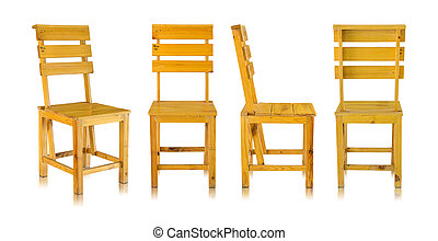 set of wooden chair isolated on white background