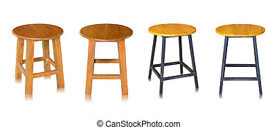 set of wooden chair or wooden stool isolated on white background