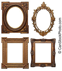set of wooden clasic vintage picture frame, isolated with clipping path