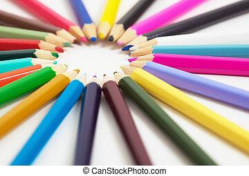 Set of wooden color pencils