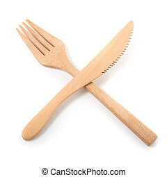 Set of wooden cutlery isolated on a white background