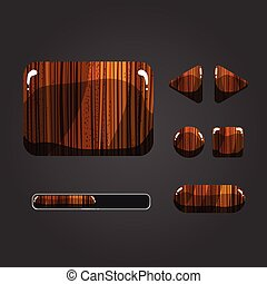 Set of wooden different buttons