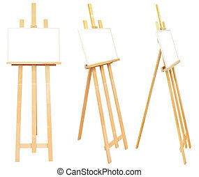 set of wooden easels with picture frame isolated