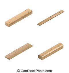 Set of wooden elements in isometric, vector illustration.