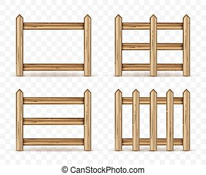 Set of wooden fences isolated on transparent background