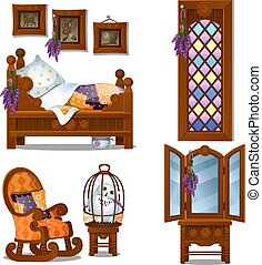Set of wooden furniture in the style of Halloween isolated on white background. Vector cartoon close-up illustration.
