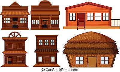 Set of wooden house illustration