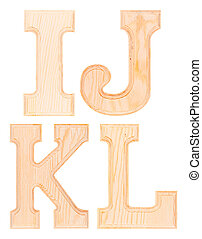 Set of wooden letters of the alphabet