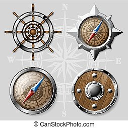 Set of Wooden Nautical elements isolated on white