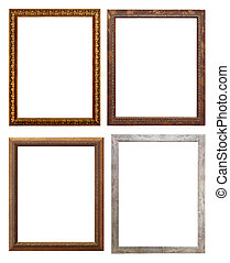 set of wooden picture frame, isolated with clipping path