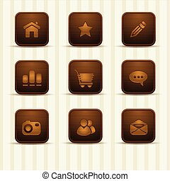 set of wooden relistic icons
