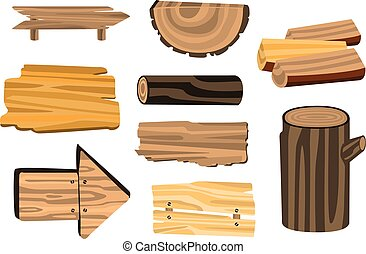 Set of wooden sign boards, planks, logs. Wooden materials vector Illustrations