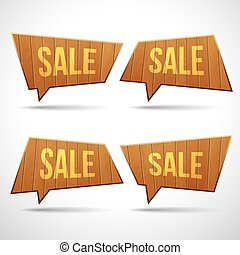 Set of wooden sign speech bubbles