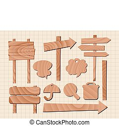 set of wooden sign vector