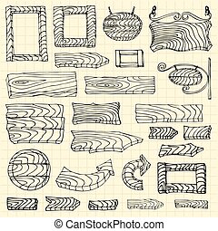 Set of wooden signposts. Hand-drawn Doodle. Vector illustration