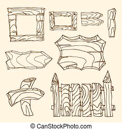 Set of wooden signposts. Hand-drawn