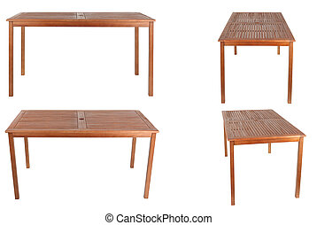set of wooden table isolated on white background