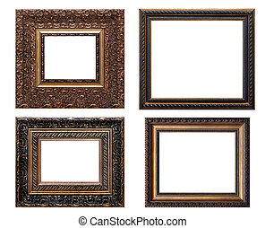 set of wooden vintage picture frame, isolated with clipping path