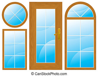 windows and door - set of wooden windows and door different...
