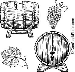Set of wooden wine barrels. Grape, grape leaf. Design...