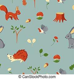 Set of woodland animals, bird, mushroom and plants. Vector illustration in cute cartoon style
