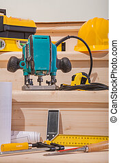 set of woodworking tools