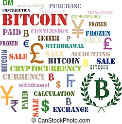Set of words and symbols with Bitcoin