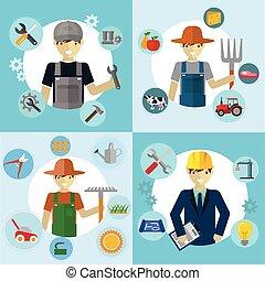 Set of workers, Mechanic, Gardener, Construction Worker and Farmer