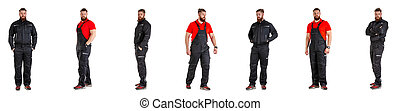 Set of Workman over isolated white background.