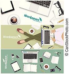 workspace banner for facebook Poster vector Design