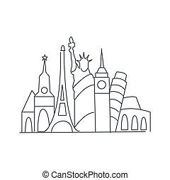 Set Of World Famous Symbolical Monuments