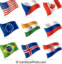 Set of world flags. Contain the Clipping Path of all flags