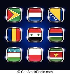 Set of world flags quadrangular glass buttons with steel border and twinkle ( Guyana . Netherlands . Bosnia and Herzegovina . Romania . Syria . Gambia . Uzbekistan . Poland . Suriname )
