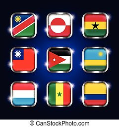 Set of world flags quadrangular glass buttons with steel border and twinkle ( Namibia . Greenland . Ghana . Taiwan . Jordan . Rwanda . Luxembourg . Senegal . Colombia )