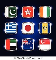 Set of world flags quadrangular glass buttons with steel border and twinkle ( Pakistan . Hong kong . Ivory Coast . Greece . Japan . Barbados . UAE . New zealand . Singapore )