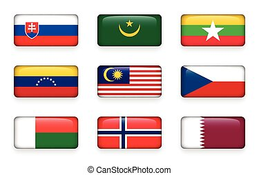 Set of world flags rectangle buttons ( Slovakia . Mauritania . Myanmar . Venezuela . Malaysia . Czech . Madagascar . Norway . Qatar )