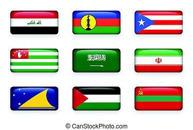 Set of world flags rectangle buttons ( Iraq . New Caledonia . Puerto Rico . Abkhazia . Saudi Arabia . Iran . Tokelau . Palestine . Transnistria )