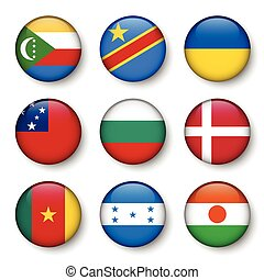 Set of world flags round badges ( Comoros . Democratic...