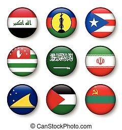 Set of world flags round badges ( Iraq . New Caledonia . Puerto Rico . Abkhazia . Saudi Arabia . Iran . Tokelau . Palestine . Transnistria )